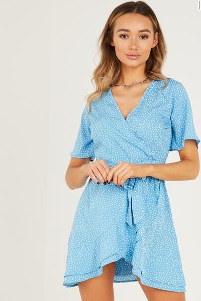 Blue Polka Dot Skater Dress